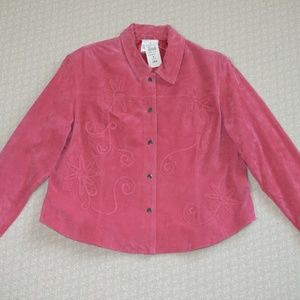 NWT Coldwater Creek Pink Suede Applique Jacket